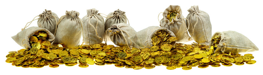 Stacking gold coin in treasure sack