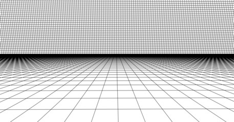 Perspective grid line. Detailed lines on white background, Vector 3D