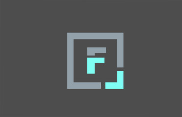 grey letter F alphabet logo design icon for business