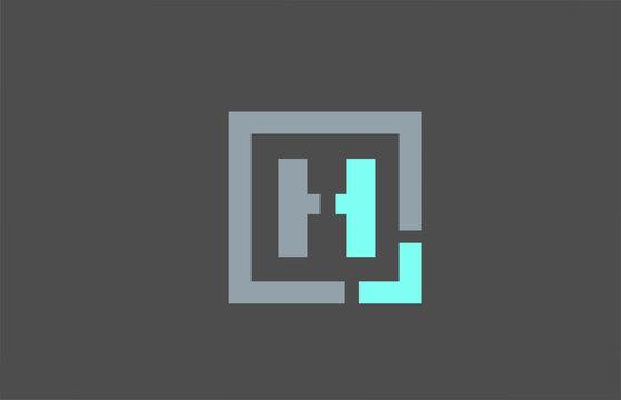 grey letter H alphabet logo design icon for business