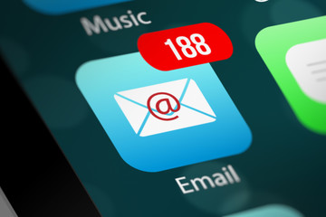 E-mail App Icon with Notifications on Smart Phone Device
