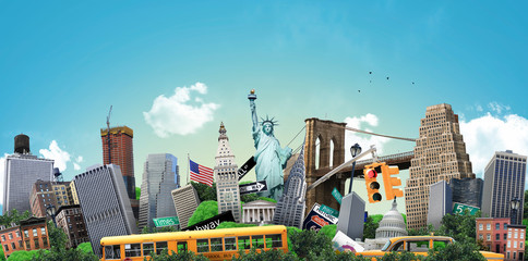 USA, concept on the theme of New York and its attractions