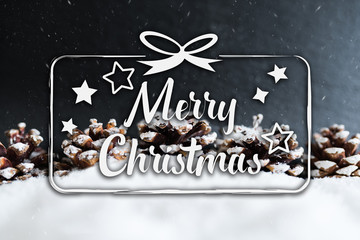 text Merry Christmas against snowy background with pine cones