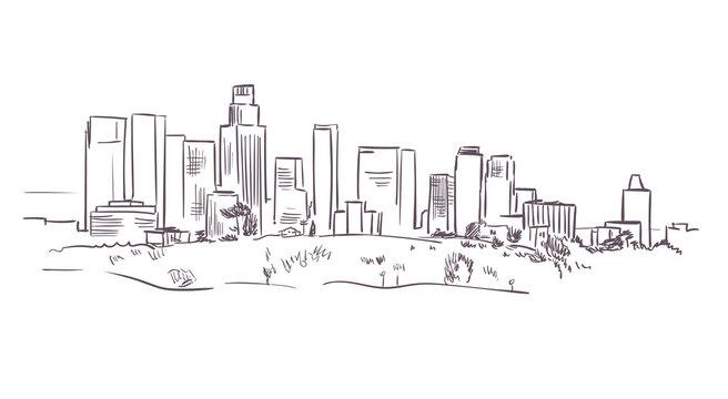 California Los Angeles vector sketch line usa landscape hand drawn