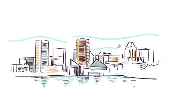 Baltimore Maryland usa America vector sketch city illustration line art