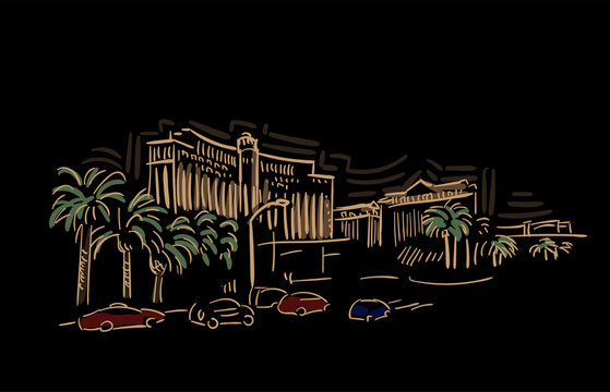Las Vegas Nevada usa America vector sketch city illustration line art