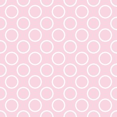 Seamless vector pattern with white polka dots on a retro pink background. For cards, albums, backgrounds, arts, crafts, fabrics, decorating or scrapbooks