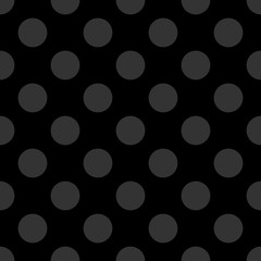 Seamless dark vector pattern with tile grey polka dots on black background