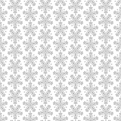 Abstract seamless vector floral pattern with grey flowers on white background