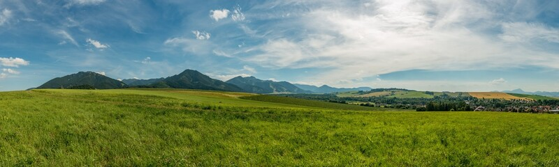 panorama view summer foothills landscape lower tatra mountains