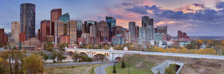 Skyline of Calgary, Alberta, Canada at sunset