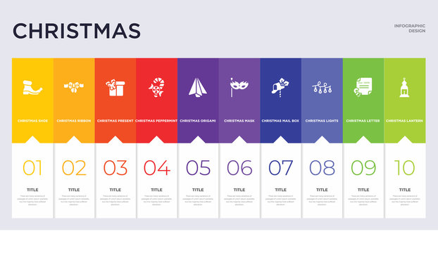 10 christmas concept set included christmas lantern, christmas letter, lights, mail box, mask, origami, peppermint, present, ribbon icons