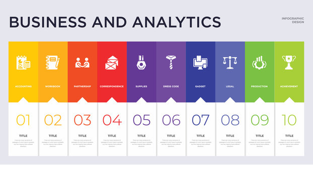10 business and analytics concept set included achievement, production, legal, gadget, dress code, supplies, correspondence, partnership, workbook icons