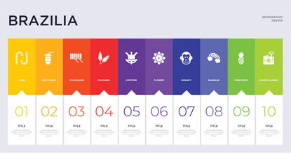 10 brazilia concept set included photo camera, pineapple, rainbow, monkey, flower, costume, feathers, xylophone, soft drink icons