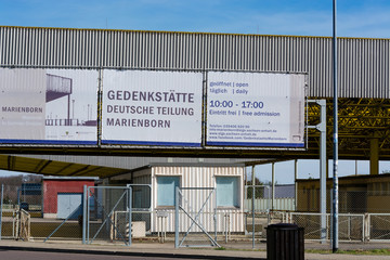 HELMSTEDT-MARIENBORN, GERMANY - MARCH 25, 2017: Historic border crossing museum between West and East Germany in Saxony-Anhalt.