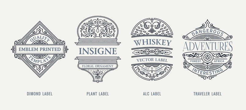 Set of Vintage beer frames and labels. Craft premium logos. Design emblems on transparent background