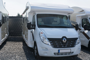 MUELHEIM RUHR; NRW; GERMANY -AUGUST  29; 2017: Motorhomes and campers for sale or rent. Concept freedom, family holiday travel, vacation travel with camper.
