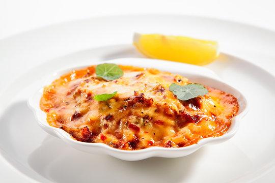Seafood lasagna portion