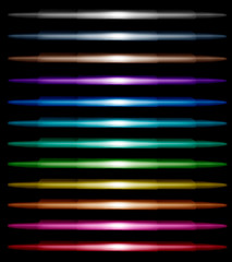 Set of multi-colored bright neon lines on black