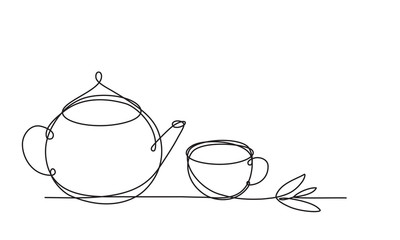 Teapot and cup. Continuous line drawing. Sketch. Tea leaf. Continuous line drawing. Sketch. Herb tea.