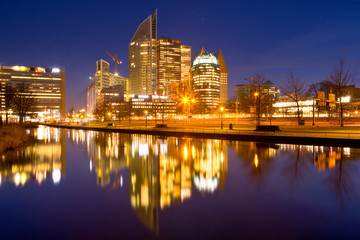 Deurstickers Rotterdam City of The Hague, The Netherlands at night