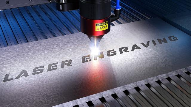 Laserschneiden, Lasergravieren. Metallverarbeitung mit Funken in einer CNC Laser Gravurmaschine. 3D Rendering