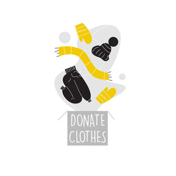 Vector illustration of donation box, pants, hat, scarf and mittens. Clothes donation concept.
