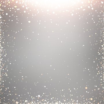 Silver background decorated golden sequins frame pattern. Shining light grey texture. Festive glitter Christmas llustration. Winter holiday decoration.