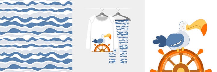 Wall Mural - Seamless pattern and illustration for kid with albatros on sailboat wheel