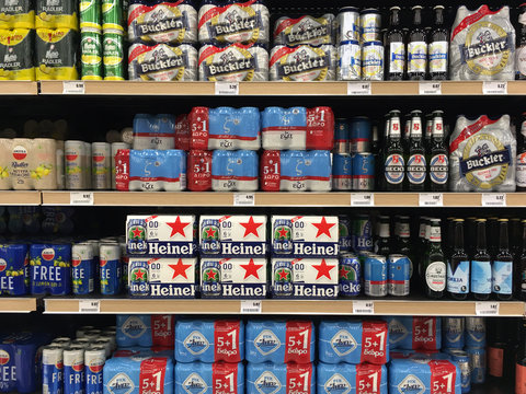 cans and bottles of beer at liquor store