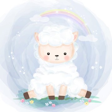 cute little lamb playing in the garden