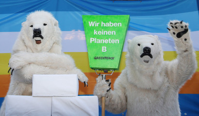 Greenpeace activists dressed as polar bears pose before members of the Swiss Glaciers Initiative committee hand over boxes with signatures supporting a referendum at the Federal Chancellery in Bern