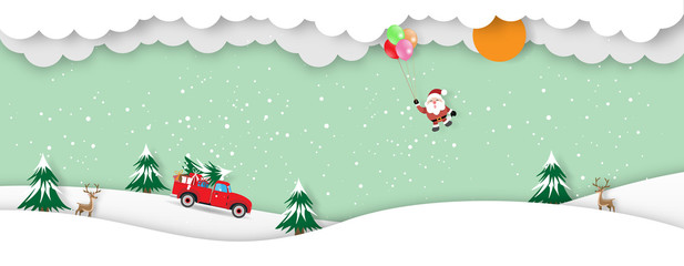 Merry Christmas and Happy New Year greeting card background with pickup truck with christmas tree and gift box and santa claus with balloon paper cut style - Vector illustration.