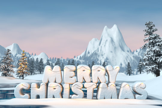 The words 'Merry Christmas' sculpted in snow, 3d render