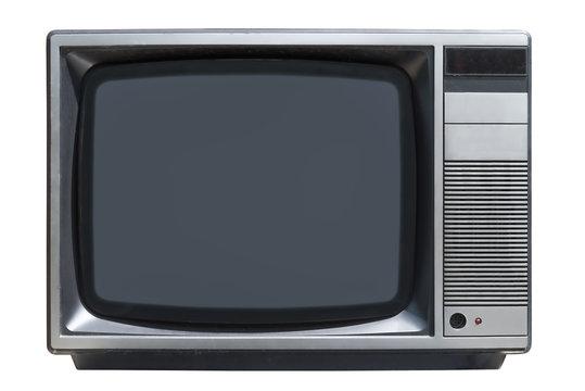old CRT tube TV set isolated on white background