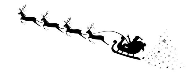 Christmas Sleigh Santa fly in sky. Silhouette reindeer and sleigh Santa. Vector illustration