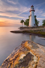 Wall Murals Lighthouse Marblehead Lighthouse on Lake Erie, USA at sunrise