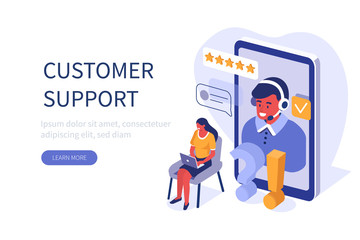 Woman Customer Asking Questions and Receive Answers. Male Customer Service Agent with Headsets Talking with Client. Online Technical Support and Helpdesk Concept. Flat Isometric Vector Illustration.