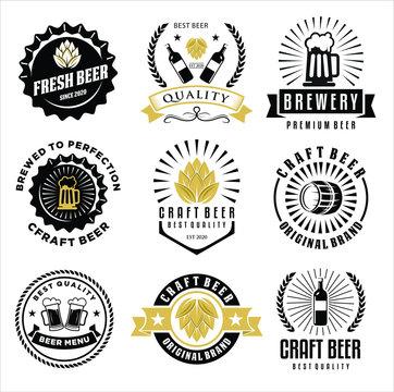 Set of Craft Beer company badge, sign or label. Vector illustration. Vintage design for winery company, bar, pub, shop, branding and restaurant business. Coaster for beer
