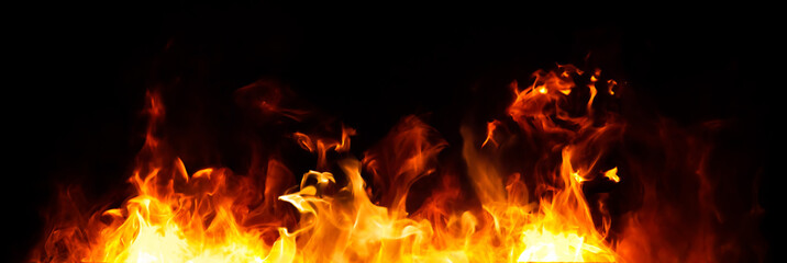 Canvas Prints Fire / Flame Panorama Fire flames on black background.