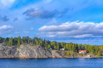 Stockholm archipelago at sunny evening.