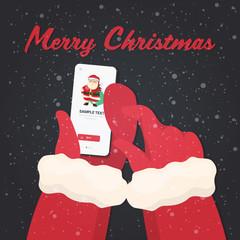 santa hands using smartphone online mobile app christmas new year holidays celebration concept greeting card vector illustration