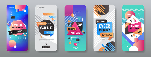 cyber monday big sale stickers set advertisement special offer concept holiday shopping discount smartphone screens collection online mobile app horizontal vector illustration