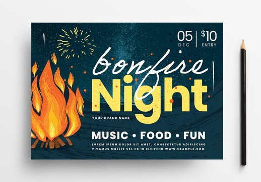 Bonfire Night Flyer Layout with Campfire