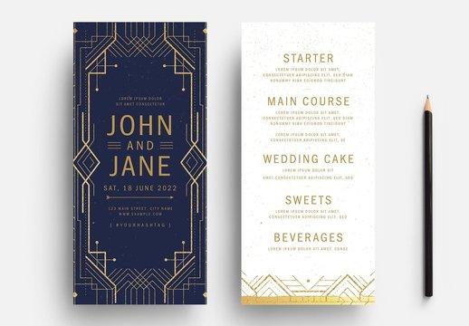 Art Deco Wedding Invite Card Layout