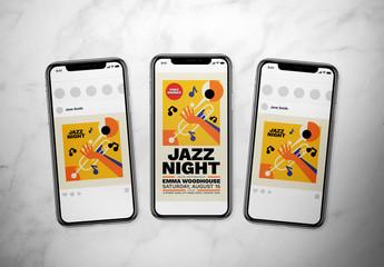 Jazz Night Event Social Media Post Layout Set