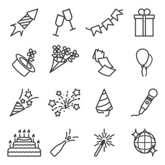 Set of holidays related icons. Includes icons of festive paraphernalia, fireworks and gifts. Linear execution. Isolated vector on a white background