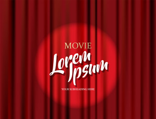 Theater stage vector red heavy curtain template illustration.