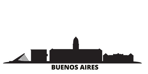 Argentina, Buenos Aires city skyline isolated vector illustration. Argentina, Buenos Aires travel cityscape with landmarks