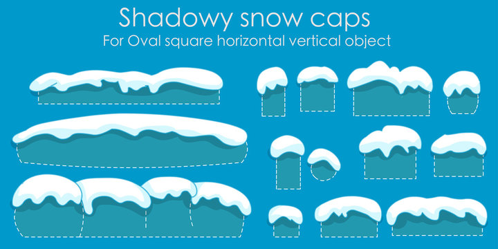Snow caps  isolated, set. snow icicles,  For text, font, home, oval, square, convex. Smooth shadowy cartoon editable snowy elements on winter. Silhouette back. Clean Blue background. Vector